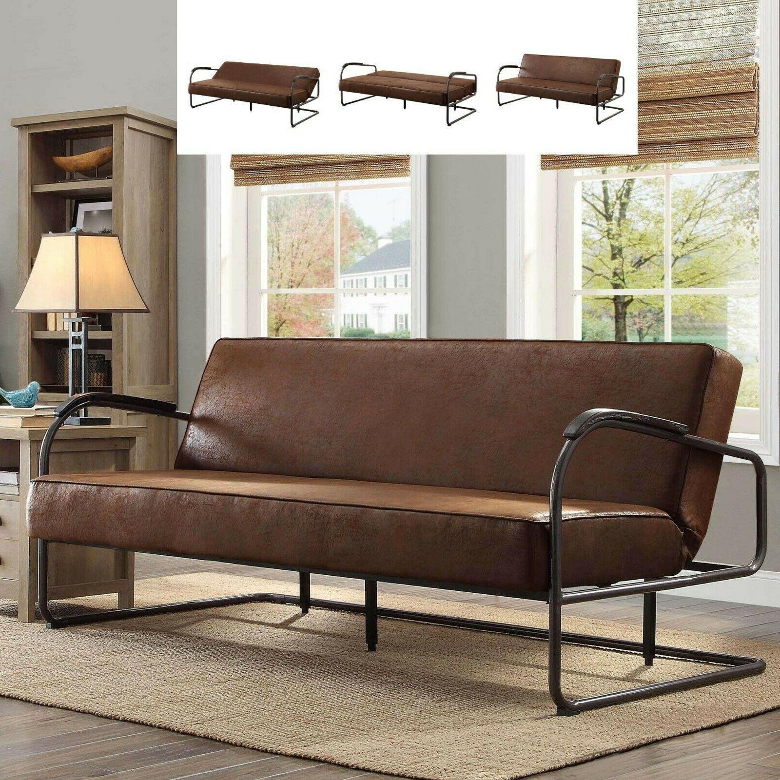 Rustic Futon Sofa Bed Sleeper Full Faux Leather Loveseat Liv