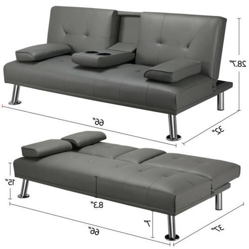 Convertible Sofa Loveseat Futon PU Leather