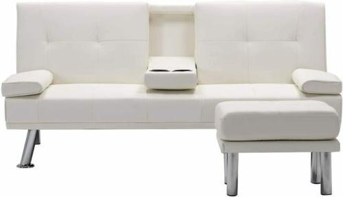 Sleeper Sofa Bed Convertible PU Recliner Cup Ottaman