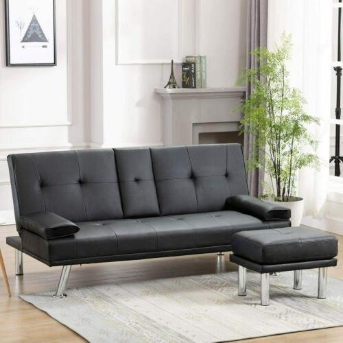 Sleeper Sofa Bed Convertible PU Recliner Holders Ottaman