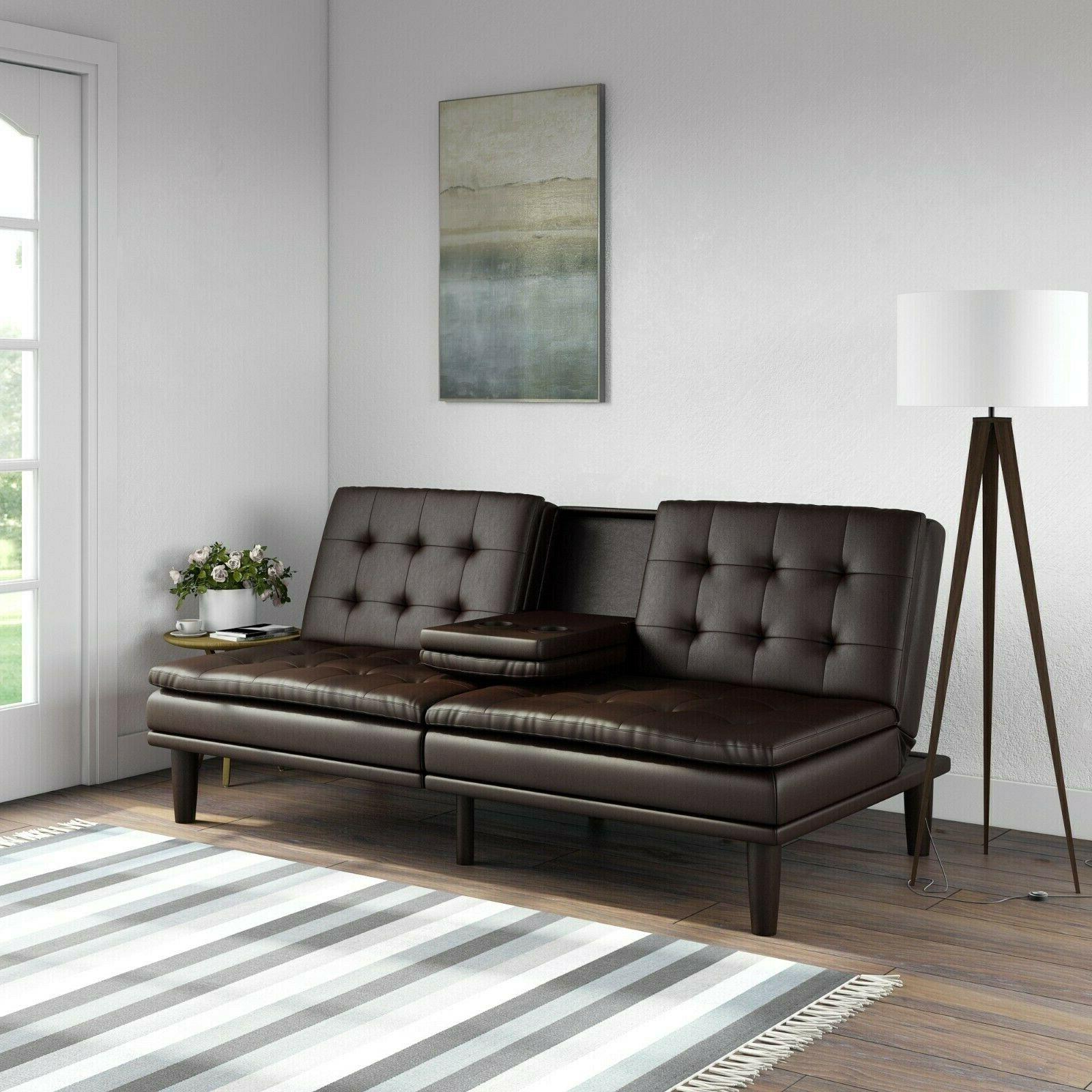 sofa bed couch convertible futon leather modern