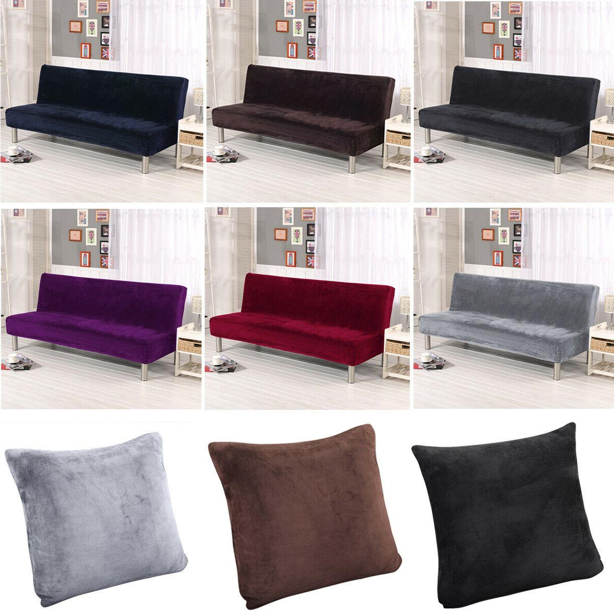 New Plush Armless Sofa Bed Cover Stretch Non-Slip Folding Co