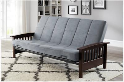 Wood Futon Arms Frame Finish Sofa Bed with Mattress Full Siz