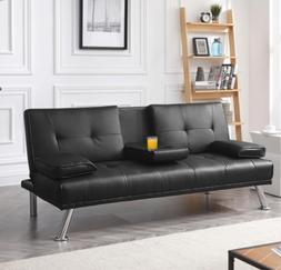 Leather Futon Sleeper Sofa Bed Black Modern Recliner TV Thea