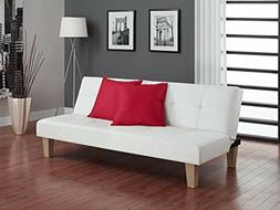 Luxury Futon Couch Tufted Faux Leather Sturdy Durable Adjust