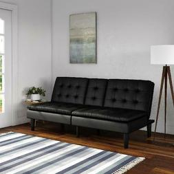 Memory Foam Faux Leather Futon with Cupholder Convertible So