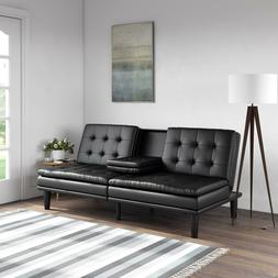 Mainstays Memory Foam Pillowtop Futon Sofa Bed with Cupholde