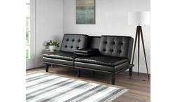 Mainstays Memory Foam PillowTop Futon with Cupholder, Black