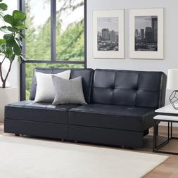 Mainstays Memory Foam Tufted Storage Futon, Black PU Leather