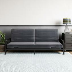 metal arm futon black frame with grey