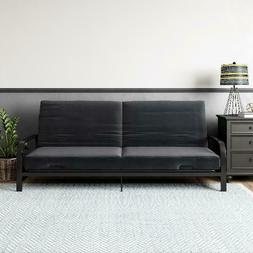 "Futon 6"" with Metal Frame Arm Black Contemporary Curved Desi"