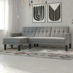 Mid-Century Grey Small Space Convertible Sectional Futon Sof