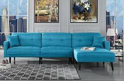 Mid Century Modern Style Sofa Sleeper Futon Sofa, L Shape Se