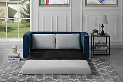 Divano Roma Furniture Modern 2 Tone Modular/Convertible Slee