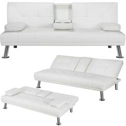 Modern Futon Sofa Bed Faux Leather Modern Style Convertible