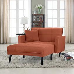 Modern Linen Fabric Recliner Sleeper Chaise Lounge - Futon S