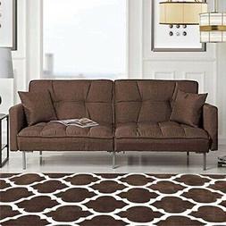 Modern Plush Tufted Linen Fabric Splitback Living Room Sleep