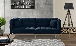 Modern Plush Tufted Velvet Fabric Splitback Living Room Slee
