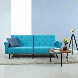 Modern Tufted Velvet Splitback Recliner Sleeper Futon Sofa w