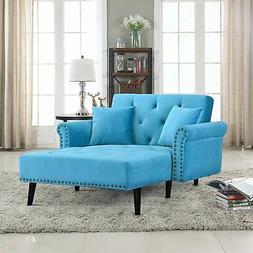 Modern Velvet Recliner Sleeper Chaise Lounge Chair, Blue