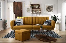 Mustard Couch Sofa Futon Bed Yellow Dorm Living Room Den Fur