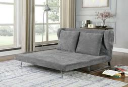 PERFECT FOR DORM GRAY VELVET QUEEN SLEEPER SOFA BED FUTON LI