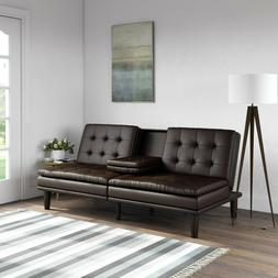 Sofa Bed Couch Convertible Futon Leather Modern Mid-Century