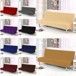 Stretch Armless Sofa Bed Cover Futon Slipcover Full Folding