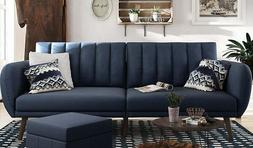 Stylish Navy  Linen Futon Sofa/Bed Ribbed Tufted Cushion Bac