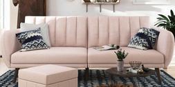 Stylish Pink Linen Futon Sofa/Bed Ribbed Tufted Cushion Back