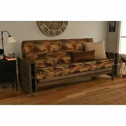 Somette Tacoma Futon Set in Rustic Walnut Finish with
