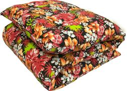 Tropical Red Blk Traditional Japanese Floor Rolling Futon Ma