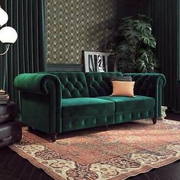 Vintage Couch Tufted Sleeper Chesterfield Sofa Bed Futon Gre