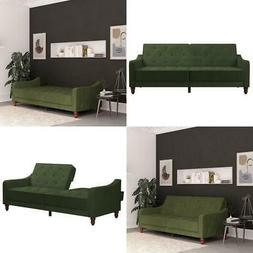 Vintage Tufted Velvet Split Back Futon Sofa Bed Living Room