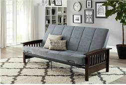 Wood Arms Futon Convertible Sofa Bed with Mattress Full Size